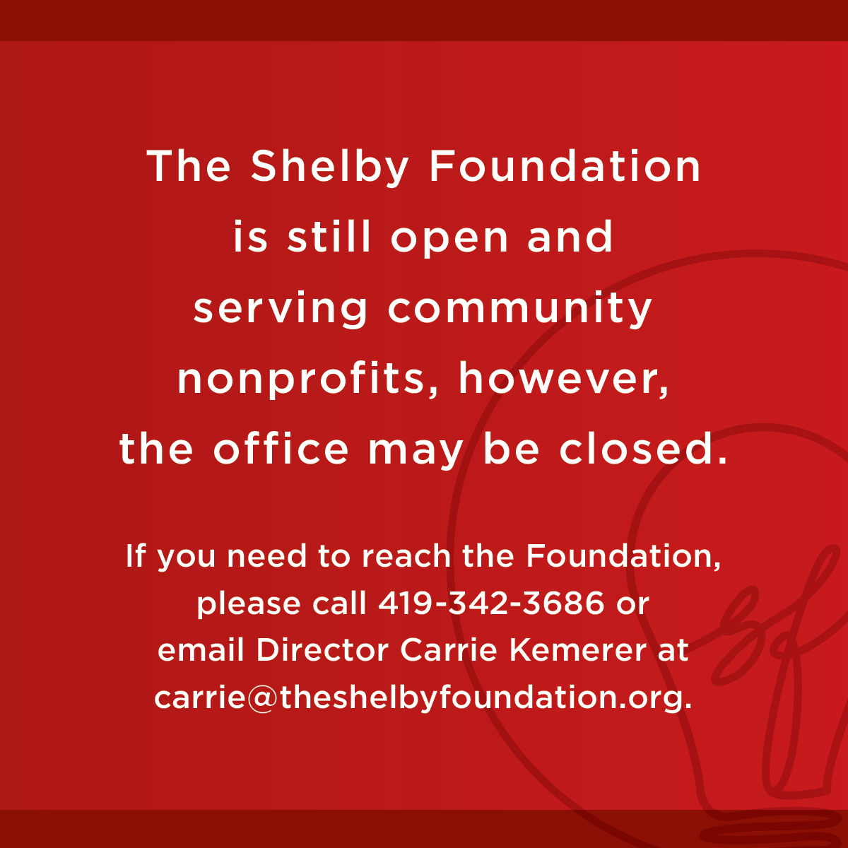 Special Announcement from The Shelby Foundation